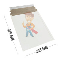 Курьер-пакет В4 250х353 мм из микрогофрокартона 450 гр./м2 - Курьер-пакет 295x375 мм из белого картона 390 гр./м2