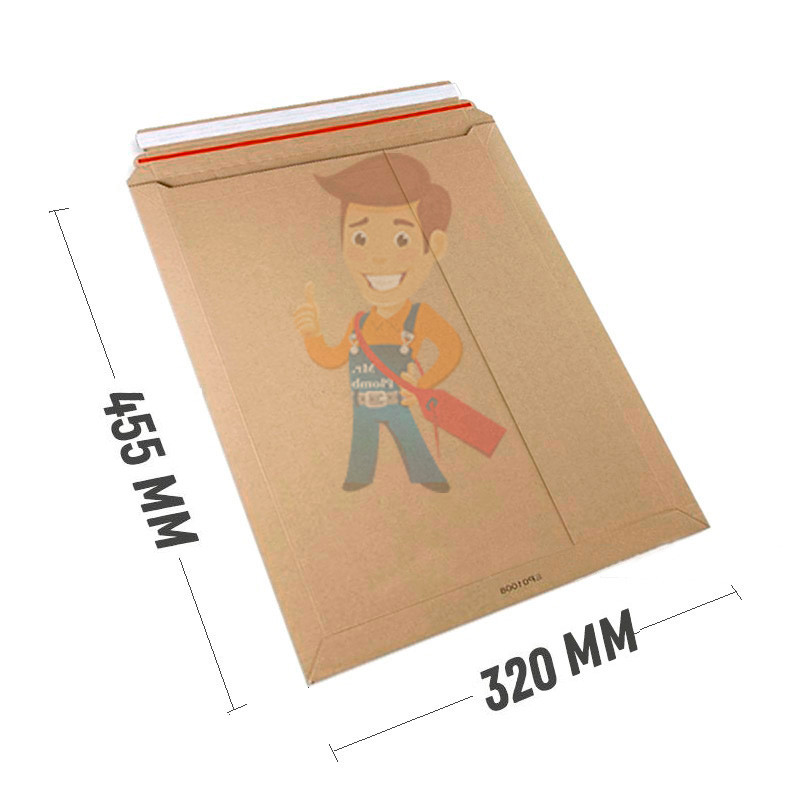 Курьер-пакет С3 320х455 мм из бурого картона 440 гр./м2