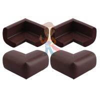 Блокиратор-бабочка для раздвижных окон и шкафов-купе, 2 шт. - Мягкие накладки на углы, 4 штуки/комплект, венге, арт.3377