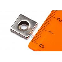 Магнитное крепление с отверстием В75 - Неодимовый магнит прямоугольник 12х12х3 мм с зенковкой 3.5/6 мм