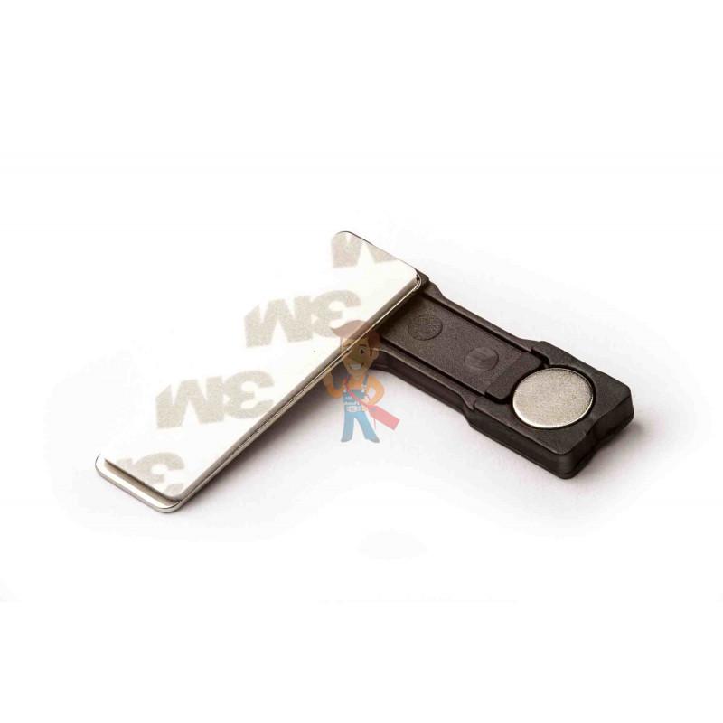 Магнитное крепление для бейджей 45х13 мм, пластик - фото 1