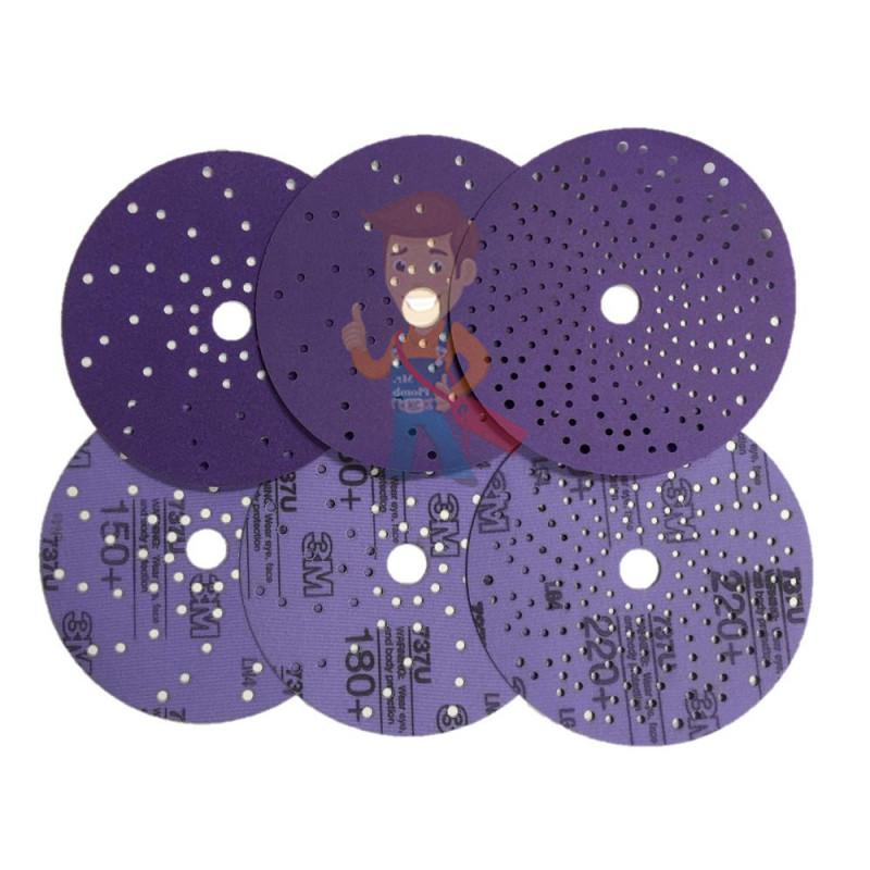 Круг абразивный c мультипылеотводом Purple+, 120+, Cubitron Hookit 737U, 150 мм - фото 6