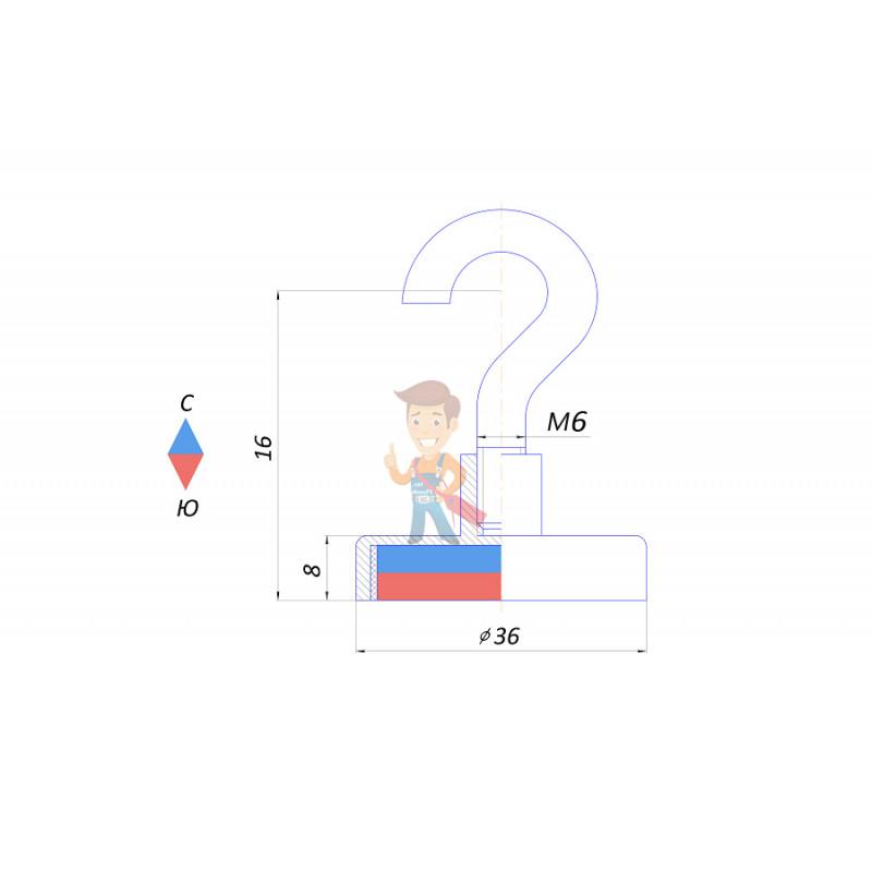 Магнитное крепление с крючком Е36 (М6) - фото 2