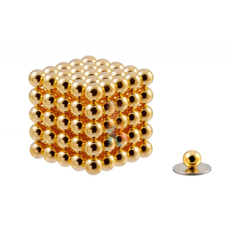 Forceberg Cube - Куб из магнитных шариков 10 мм, золотой, 125 элементов - фото 1