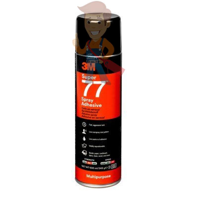 Клей-спрей 77, аэрозольный эластомерный однокомпонентный универсальный, полупрозрачный (белый), 500 мл