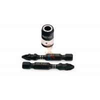 Брелок - портативная отвертка с фонарем, 4 биты - Набор торсионных бит для ударного шуруповерта PZ2х50 мм, 2 шт с магнитной муфтой