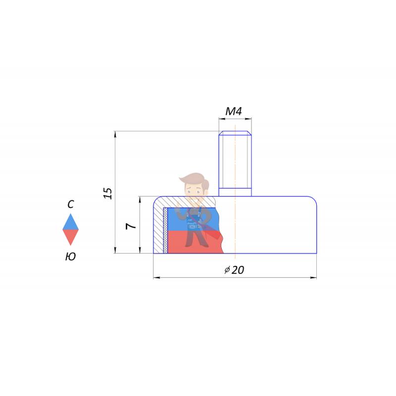 Магнитное крепление Forceberg C20 с винтом М4, 4 шт - фото 4