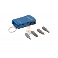 Магнитная насадка под шестигранную головку H8 для ударного шуруповерта, 65 мм - Брелок - портативная отвертка с фонарем, 4 биты