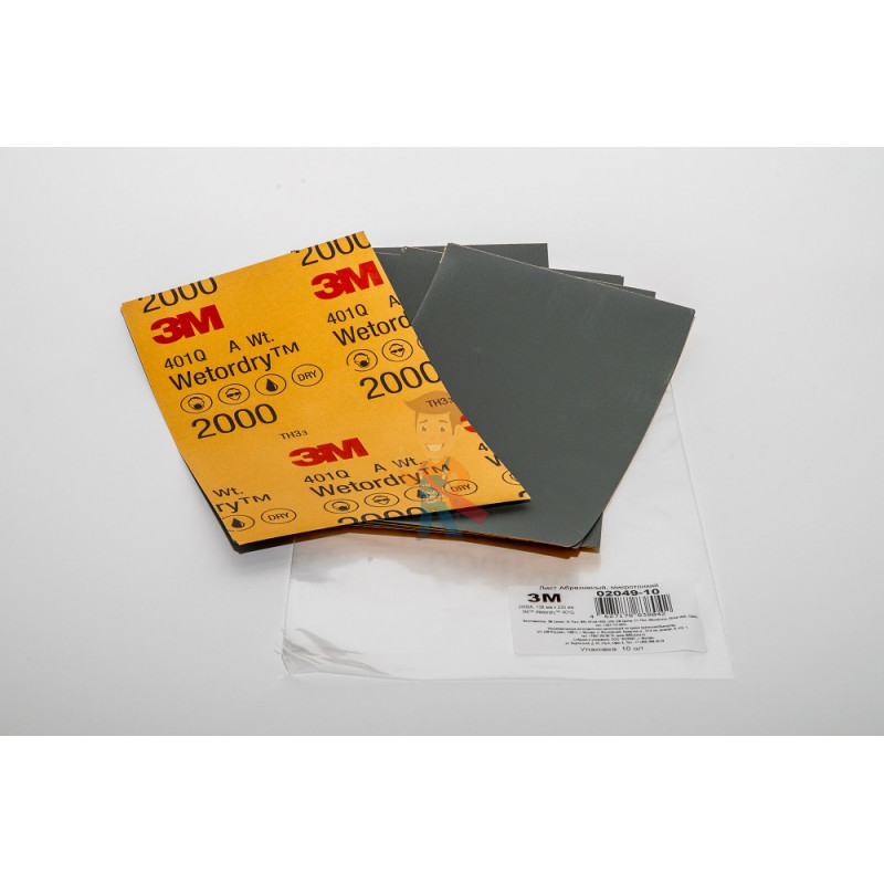 Лист Абразивный, микротонкий, 1500А, 138 мм х 230 мм, 3M™ Wetordry™ 401Q, 10 шт/уп - фото 3