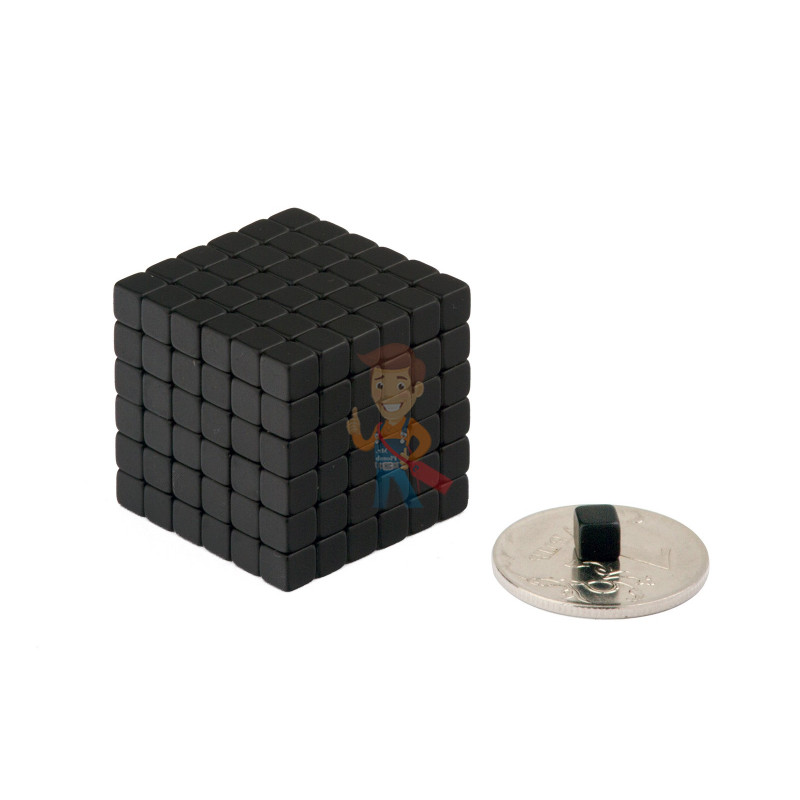 Forceberg TetraCube - куб из магнитных кубиков 4 мм, черный, 216 элементов - фото 2