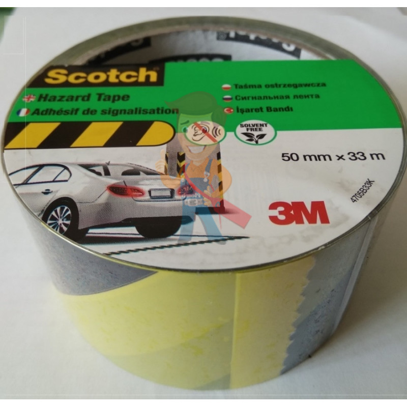 Лента cигнальная Scotch 4705, черно-желтая, 50 мм х 33 м х 0.15 мм - фото 1