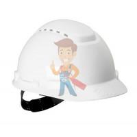 Каска защитная c вентиляцией, стандартное оголовье, УФ индикатор, оранжевая - Каска защитная с вентиляцией, стандартное оголовье, белая