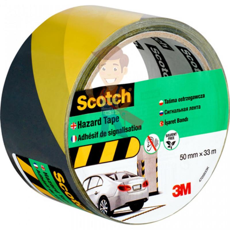 Лента cигнальная Scotch 4705, черно-желтая, 50 мм х 33 м х 0.15 мм