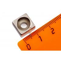 Магнитное крепление с отверстием В42 - Неодимовый магнит прямоугольник 12х12х6 мм с зенковкой 4.5/9.6 мм, N35