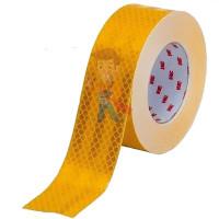 Лента светоотражающая 3M 983-72, алмазного типа, красная, 53,5 мм х 5 м - Пленка световозвращающая микропризматическая жёлтая, размер рулона 55 мм х 50 м