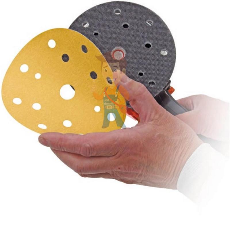 Круг абразивный, золотой, 15 отверстий, Р240, 150 мм,3M Hookit 255P+ 10 шт/уп - фото 1