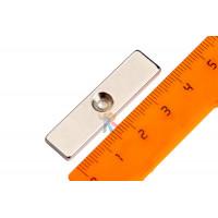Магнитное крепление с отверстием В20 - Неодимовый магнит прямоугольник 40х10х3 мм с зенковкой 3/6 мм