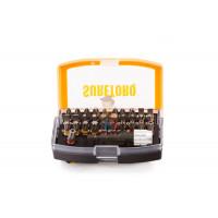 Брелок - портативная отвертка с фонарем, 4 биты - Набор бит с цветовой маркировкой и быстросменным держателем в пластиковом боксе, 32 предмета