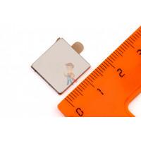 Магнитное крепление с отверстием В16 - Неодимовый магнит прямоугольник 15х15х1.5 мм с клеевым слоем