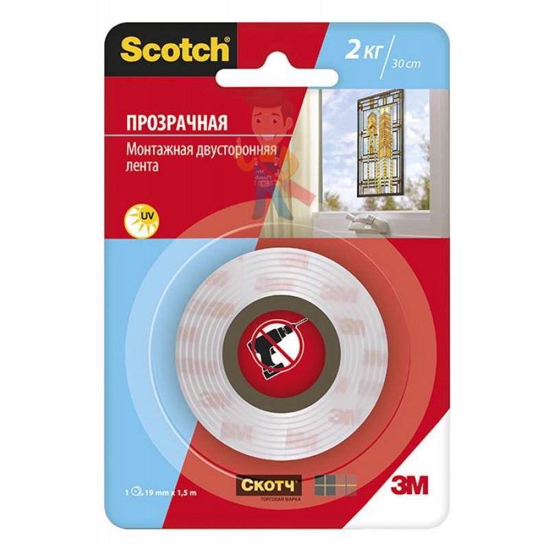Клейкая прозрачная монтажная лента Scotch®, 19 мм х 1,5 м