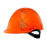 Каска защитная с вентиляцией, стандартное оголовье, оранжевая - Каска защитная c вентиляцией, стандартное оголовье, УФ индикатор, оранжевая