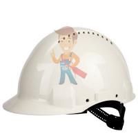 Каска защитная с вентиляцией, стандартное оголовье, оранжевая - Каска защитная c вентиляцией, стандартное оголовье, УФ индикатор, белая