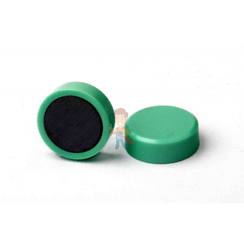 Магнит для магнитной доски FORCEBERG 20 мм, зеленый, 10шт. - фото 1