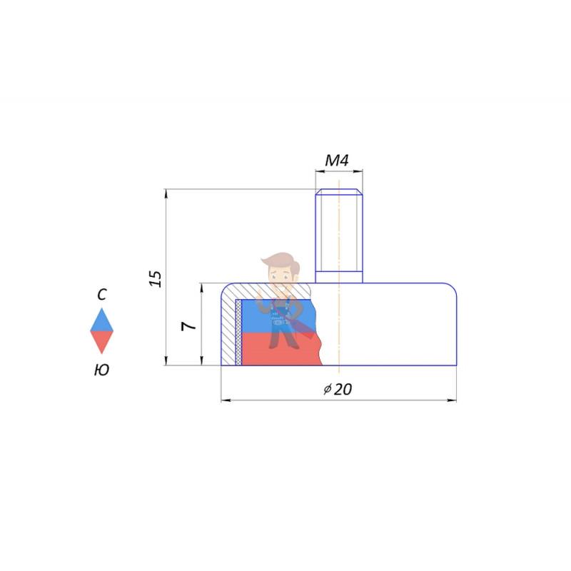 Магнитное крепление с винтом С20 (М4) - фото 3