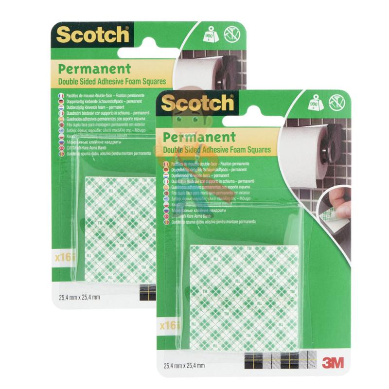 Квадраты монтажные двусторонние клейкие Scotch, 16 шт./упак. 2 упак/набор.