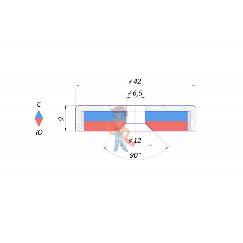 Магнитное крепление с отверстием А42 - фото 2