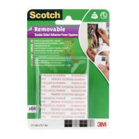 Квадраты монтажные двусторонние клейкие Scotch®, 16 шт./упаковка - Подушечки монтажные клейкие двусторонние удаляемые Scotch®, 64 шт/упак.