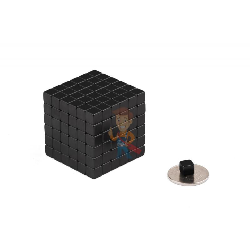 Forceberg TetraCube - куб из магнитных кубиков 6 мм, черный, 216 элементов - фото 2